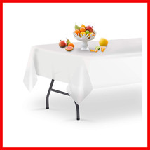 Table Saver Disposable Plastic Tablecloths 6 Pack Premium White 54 inch ... - $6.91