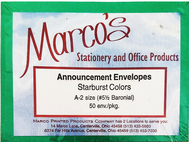 Marco's Stationery Announcement Envelopes Starburst Colors, Green, Size A-2