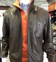 Polo Ralph Lauren Men's BROWN Lamb Leather Mock Neck Bomber Jacket US S - $265.07