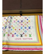 LOUIS VUITTON Scarf Multi Monogram TAKASHI MURAKAMI Silk Auth New Unused... - $577.17