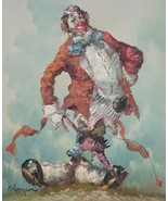Awesome Original Vintage CLOWN Oil Painting Very COLORFUL & HAPPY Clown ... - $295.00