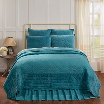 3-pc King - ELEANOR TEAL Quilt and Shams Set - Teal Velvet - VHC Brands