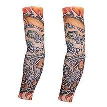 PANDA SUPERSTORE 1-Pair Ghost Skull Fake Tattoo Sun Sleeves Body Art Arm Covers