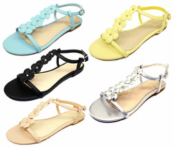 Caleb-10 New Gladiator Floral Stone Flats Cute Comfort Sandals Party Women Shoes - $12.59