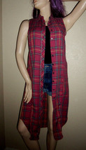 VTG 90s CONTEMPO CASUALS Red Plaid Burnout Flannel Duster Shirt Dress Gr... - $29.00
