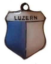 Vintage  Silver Charm Luzern Lucerne Switzerland Swiss Enamel Travel Fla... - $21.37