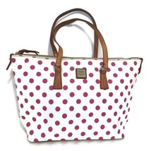 DOONEY & BOURKE Tote Bag/Shopper White/Pink Polka Dots Zip Top Leather Straps - $64.35