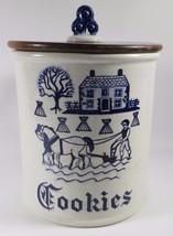 Vintage METLOX Poppytrail Vernon Provincial Blue Cookie Jar & Lid MINT F... - £96.49 GBP