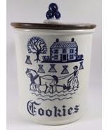 Vintage METLOX Poppytrail Vernon Provincial Blue Cookie Jar & Lid MINT F... - $128.69