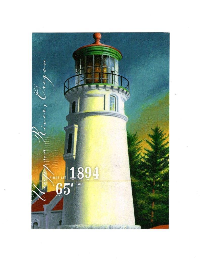 POSTCARD-UMPQUA RIVER LIGHTHOUSE-FIRST DAY  ISSUE-PACIFIC LIGHTHOUSE SERIES BK11