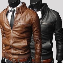 New Fashion Men's jackets Slim collar motorcycle leather jacket coats #S... - $61.20