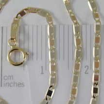 18K YELLOW WHITE ROSE GOLD FLAT BRIGHT OVAL CHAIN 20 INCHES, 2 MM MADE IN ITALY image 2