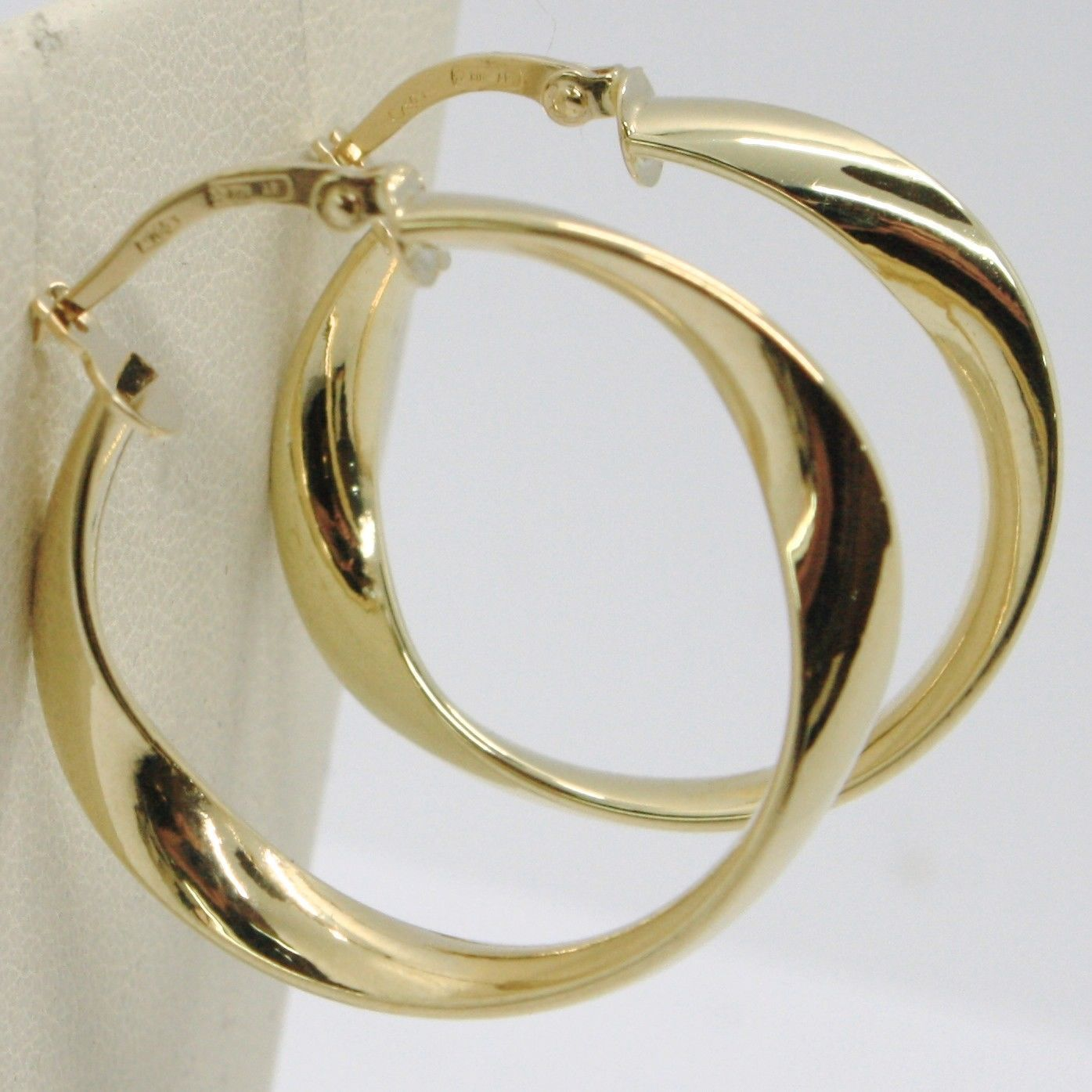 YELLOW GOLD EARRINGS 750 18K CIRCLES WAVY TRANSPARENCIES MADE IN ITALY