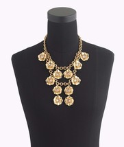 "J.Crew Gold Flower Statement Necklace Gold 17 1/2"" w/ 2 1/4"" extender ch... - $74.80"