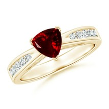 6mm Trillion Best AAA Garnet Solitaire Ring with Diamond Accents Gold/Pl... - $872.30+