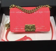 NEW AUTHENTIC CHANEL BRIGHT NEON PINK PATENT LEATHER SMALL BOY FLAP BAG GHW