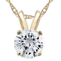1/2ct Yellow Gold Round Diamond Solitaire Pendant 14K Yellow Gold Finish... - £34.12 GBP