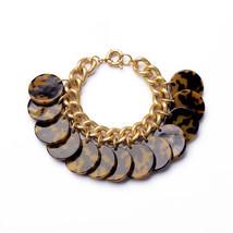 J. Crew Style Tortoise Shell Disc Gold Link Charm Bracelet Leopard Cheet... - $32.00