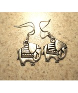 EARRINGS TIBETAN SILVER ELEPHANT PIERCED DANGLE #482 - $8.99