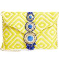 STEVEN BY STEVE MADDEN BEADED EMBROIDERED CLUTCH CITRON $65 FREE SHPG OR... - $65.00