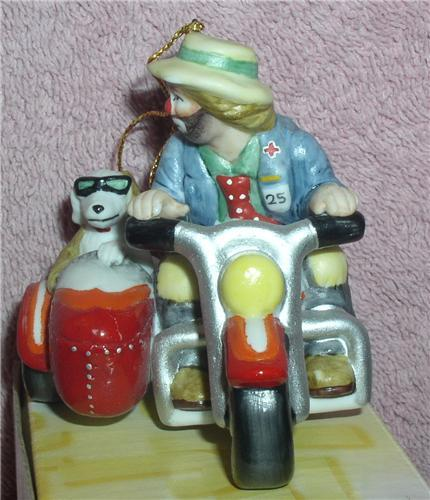 Emmett Kelly Jr. Motorcycle w/ side car his side kick circus clown ornament