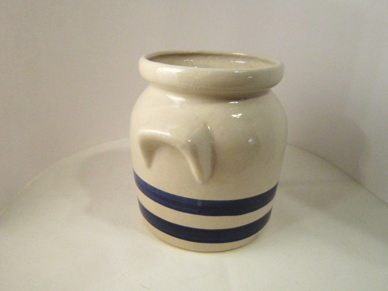 Robinson Ransbottom Stoneware Crock, Blue Stripes, RRP Co, Made in USA