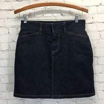 GAP Dark Wash Stretch Denim Skirt Womans 2 Front Zipper Pockets No Slit ... - $19.30