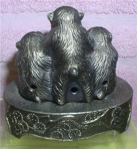 Hear No Evil See No Evil Speak No Evil monkey  Incense burner figurine