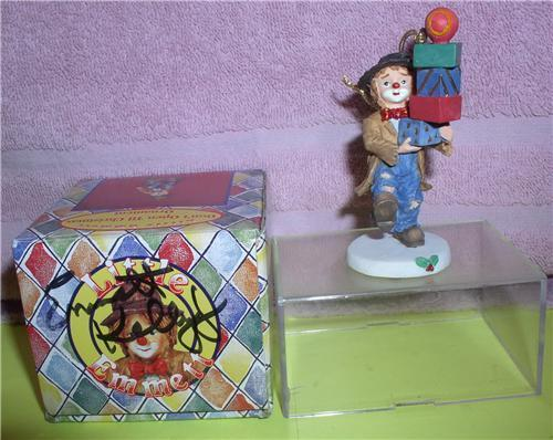 Primary image for Little Emmett Kelly Jr. circus clown  Pile of Package ornament signed