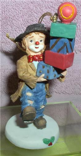 Little Emmett Kelly Jr. circus clown  Pile of Package ornament signed
