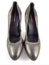 Women's PRADA Dark Grey Calf Leather Thin Heel Pump Shoes Size 391/2 image 2