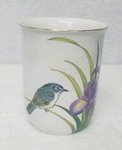 Gibson Greeting Cards Otagiri Japan Coffee Mug Blue Bird Grass Purple Flowers  - $20.35