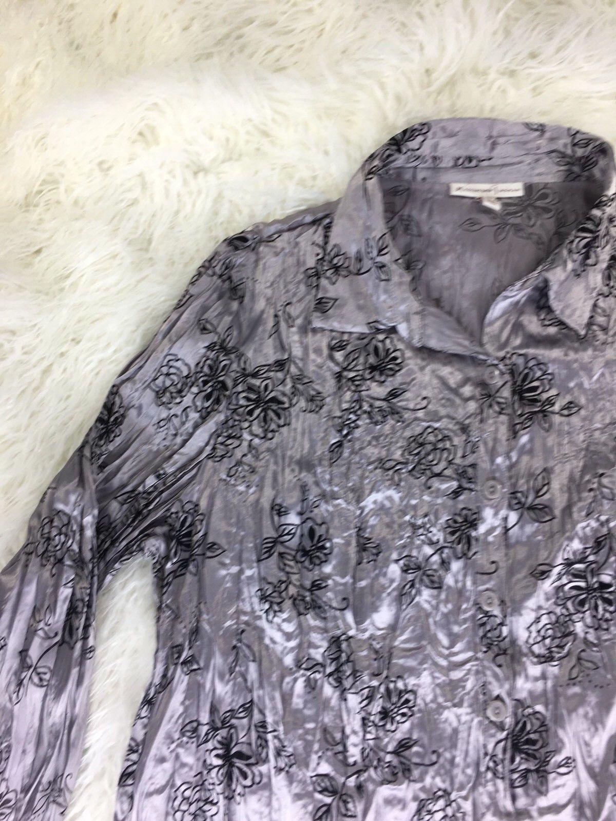JM Collection Women's Gray Floral Blouse Size 18W
