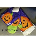 Oven Mitt Pot Holder Kitchen Towel Jack o'lantern Pumpkin Halloween Set  - $9.99