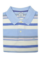 Brooks Brothers Mens Blue White Pink Striped Slim Fit Polo Shirt Medium M 3091-7 - $50.48
