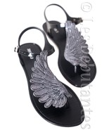 BLACK JELLY SANDALS ANGEL WINGS SUMMER BEACH HOLIDAY SWIMMING POOL RAIN ... - $19.99