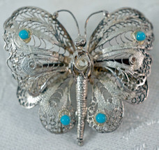 "Silver Filigree Butterfly Brooch with Turquoise Colored ""Stones"" Missing... - $15.99"