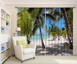3D Beach Road Palm 21 Blockout Photo Curtain Print Curtains Drapes US Lemon - $177.64+
