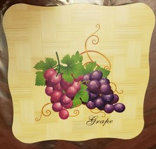"1 New Natural Bamboo Heat Pad, Kitchen Decor, GRAPES, square, approx. 7""... - $7.91"