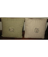 Two Green Bed Couch Quilted Pillows - $19.00