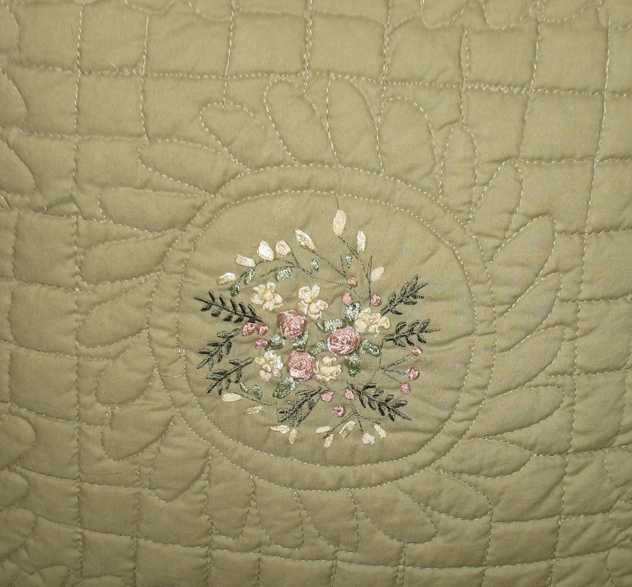 Two Green Bed Couch Quilted Pillows