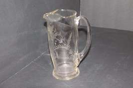 "Princess House 8"" Pitcher Etched Crystal Beverage Server Rare Vintage Hand Blown - $84.14"
