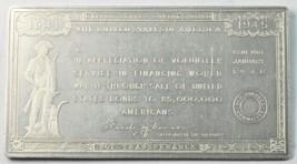 """1946 WWII War Bond Appreciation Aluminum Plaque 3-3/8""""  - $40.09"""