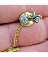Little Car Dune Buggy Tie Tack Clasp Pin With Chain Marked Sarah Cov - $11.87
