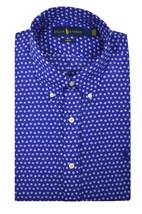 Ralph Lauren Mens Blue Printed Slim Fit 100% Cotton Button Shirt Sz XL 3... - $72.26