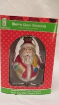 Merry Brite Christmas Blown Glass Santa Ornament - $4.99