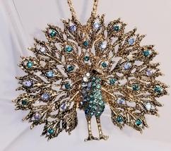 Women's Blue Crystal Enamel Peacock Pendant Betsey Johnson Necklace/Broo... - $25.00