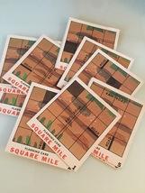 "Vintage 60s Set of 11 ""Square Mile"" game cards"
