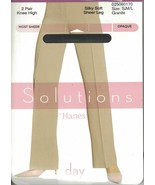 Hanes Solutions Silky Soft Sheer Knee Highs 2 Pair Opaque Day Granite OS... - $6.92