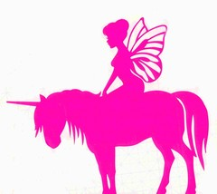 pink fairy on unicorn decal ideal cars, trucks, home etc easy to apply